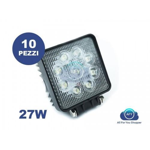 10 x faro da lavoro quadrato luce di profondita a led 27w 12-24v