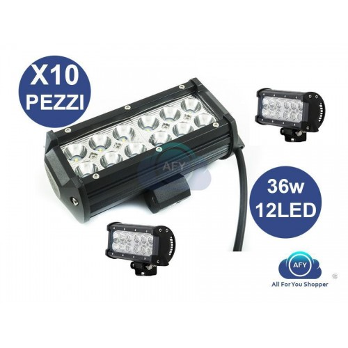 10 x faro lampada supplementare auto fuoristrada 12v 12 led 36w 6000k profondita
