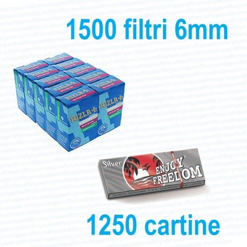 1250 cartine enjoy corte silver + 1500 filtri slim 6 mm - rizla