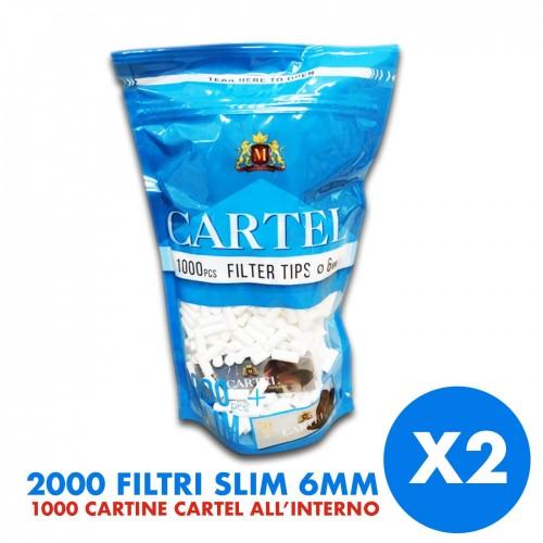2000 filtri cartel 6mm 2 confezione da 1000 filtri + libretto cartine in omaggio