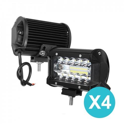 4 x faro faretto 24 led smd 72w 6000k luce da lavoro, auto, jeep, suv, camion, barca
