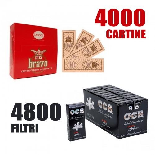 4800 filtri ocb ultra slim 5,7mm extra + 4000 cartine bravo rex corte regular