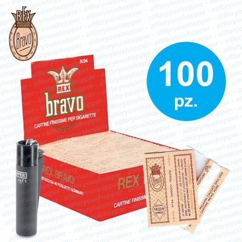Cartine bravo rex corte 1 box 100 libretti 4000 cartine + clipper