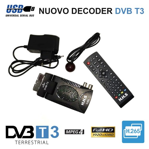 Decoder mini digitale terrestre dvb t2 scart 180 usb hdmi full hd