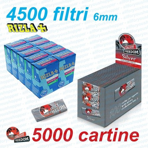 4500 filtri rizla slim 6mm + 5000 cartine enjoy freedom silver corte