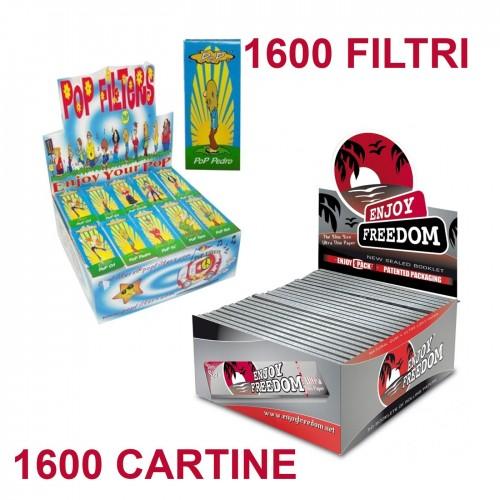 1600 cartine + filtri carta pop filters di carta blocchetti 50 blocchetti