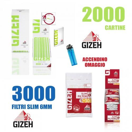 Cartine corte gizeh fini verdi con chiusura magnetica + 3000 filtri gizeh 6mm