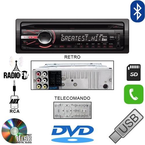 Autoradio stereo auto lettore cd dvd mp3 aux usb sd vivavoce bluetooth 60wx4