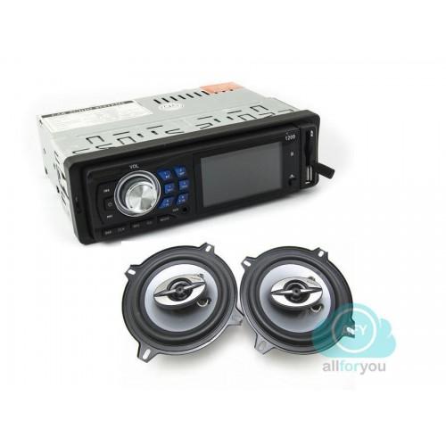 Kit autoradio bluetooth stereo fm + coppia casse 400 watt 16 cm