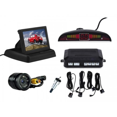 Kit telecamera retromarcia 9 led e sensori  parcheggio con monitor 4,3