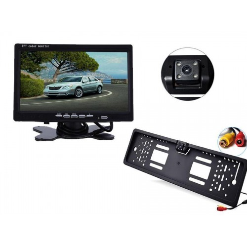Kit monitor 7 pollici con portatarga con telecamera retromarcia