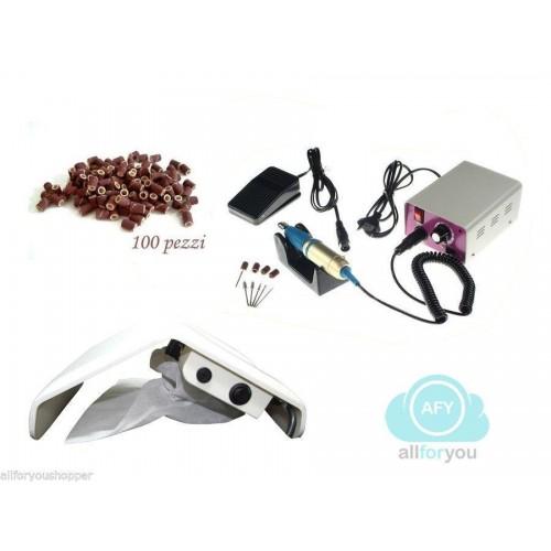 Kit fresa ricostruzione con pedale 23 cm aspiratore per unghie + 100 scovolini