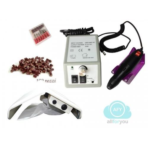 Kit fresa nail art 10 watt20.000 giri + aspiratore per unghie +100 scovolini o
