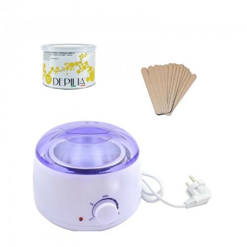 Kit depilazione scalda cera + spatole + cera brasiliana indolore barattolo