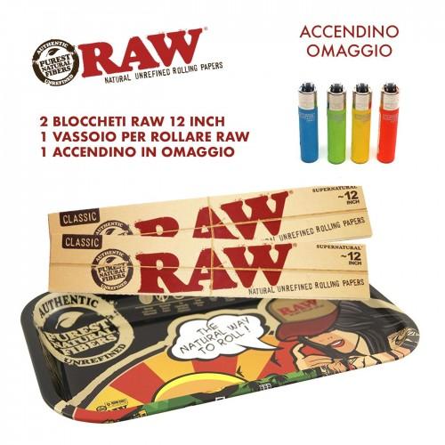 Kit vassoio raw 2 libretti raw 12 inch accendino in omaggio