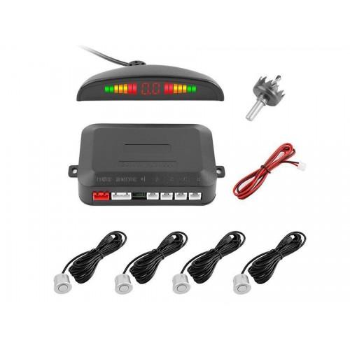 Kit 4 sensori di parcheggio grigi con cicalino acustico con display led+suono