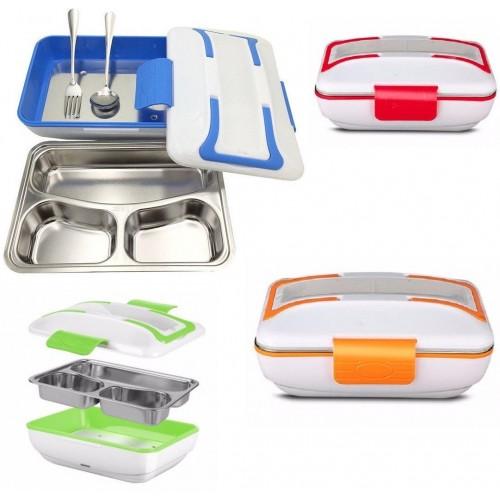 Scaldavivande elettrico lunchbox contenitore porta cibo 3 scomparti 12v auto