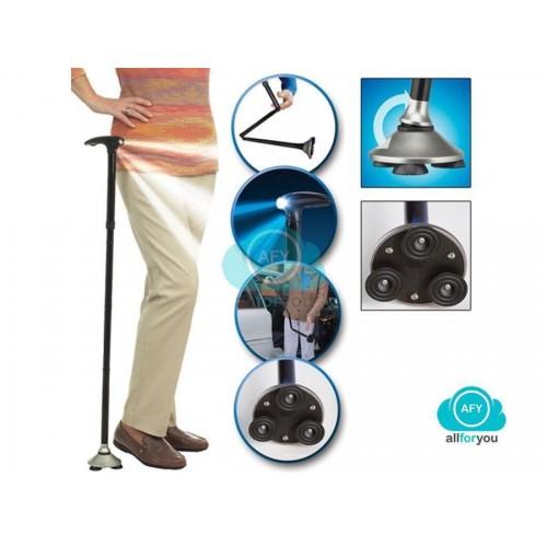Bastone da passeggio magic cane con luce a led altezza regolabile pieghevole off