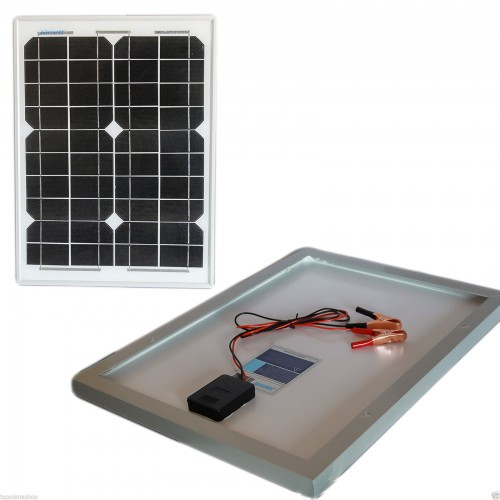 Pannello solare modulo fotovoltaico 20w 20watt 12v celle silicio pinze batteria