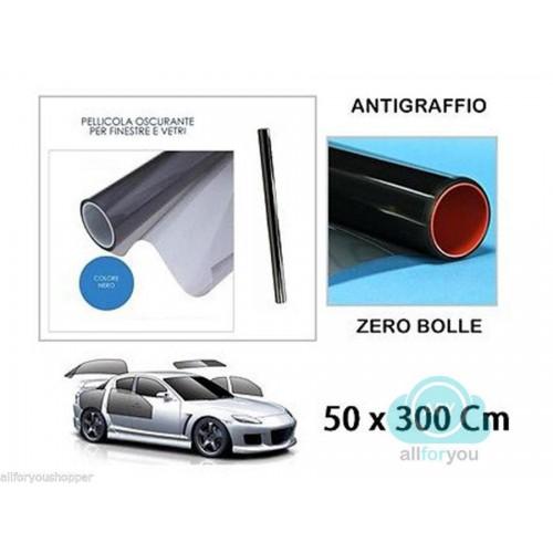 Pellicola oscurante per vetri auto nera antigraffio 50 x 300cm oscuramento 20%