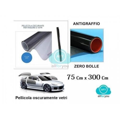 Pellicola oscurante per vetri auto nera antigraffio 75 x 300 cm oscuramento 20%o