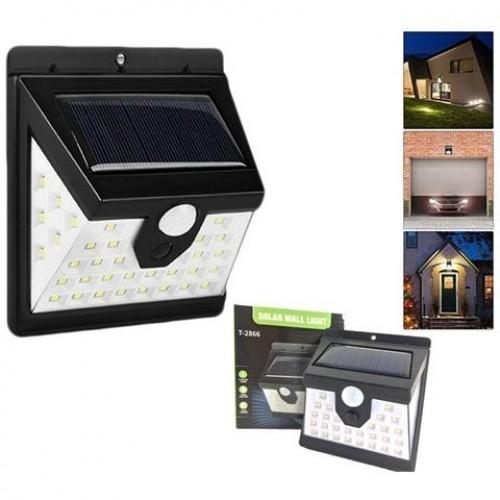 Faretto da esterno 40 led con sensore crepuscolare e pannello solare facile