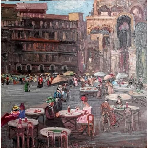 Quadri piazza venezia cm 60x60 quadro moderno stampa su tela canvas xxl astratti città