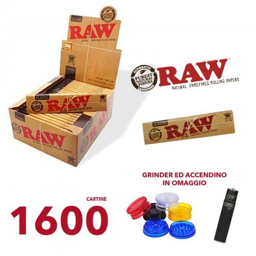 1600 raw cartine slim kingsize grinder ed accendino in omaggio