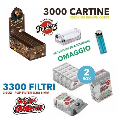 3000 cartine smoking brown corte marroni + 3300 filtri pop filter slim 6 mm