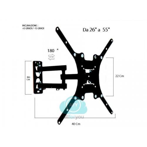 Staffa porta tv monitor da 26  a 55  supporto parete braccio 180° fino a 400x40