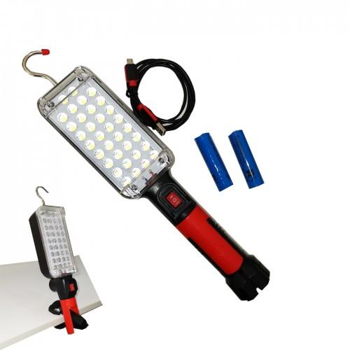 Lampada cob 20w ricaricabile gancio calamita zj-8859 torcia 34 led smd lavoro portatile